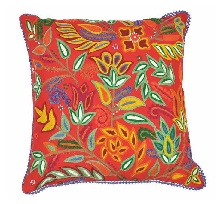 Floral Crewel 18x18 Pillow, Red