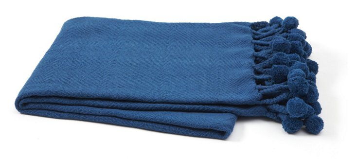 Pom-Pom Cotton Throw, Navy