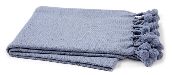 Pom-Pom Cotton Throw, Gray