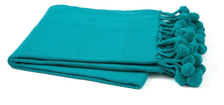 Pom-Pom Cotton Throw, Peacock Blue