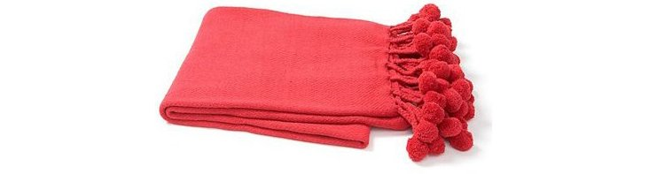 Pom-Pom Cotton Throw, Red