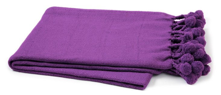 Pom-Pom Cotton Throw, Purple