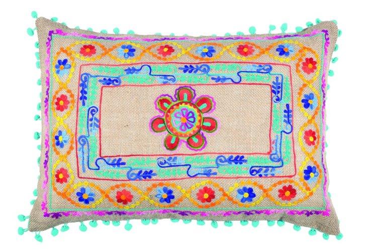 Pom-Pom 14x20 Embroidered Pillow, Multi