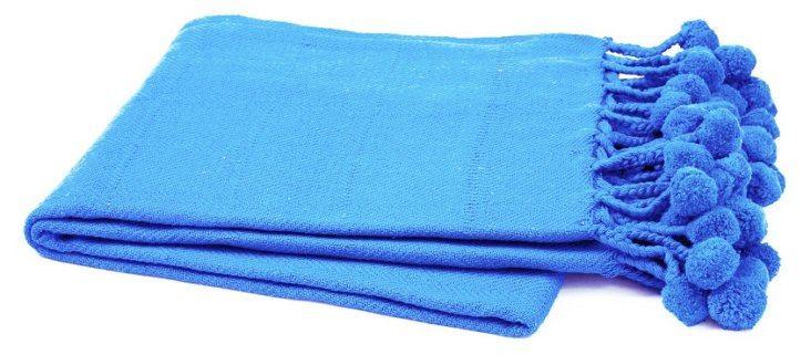 Pom-Pom  Throw, Heritage Blue