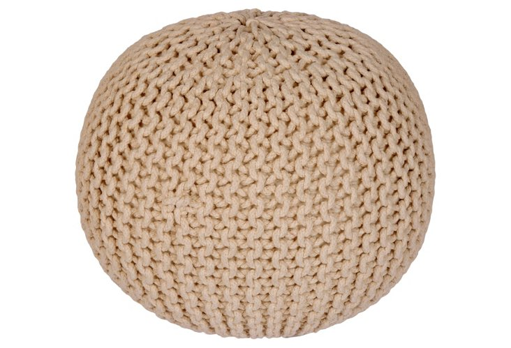 Issey Knitted Cable Pouf, Beige