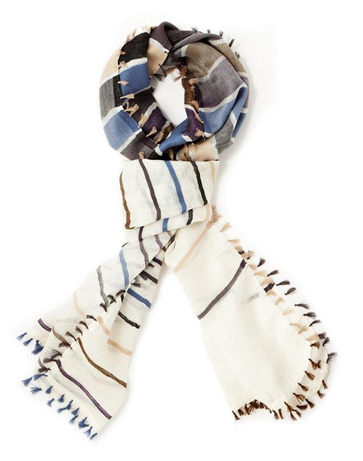 Linen-Blend Tassel Scarf, Navy/Multi