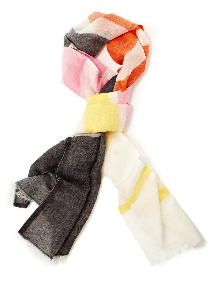 Linen-Blend Colorblock Scarf, Multi