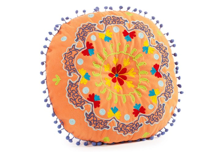 Botany Embroidered Round Pillow, Orange