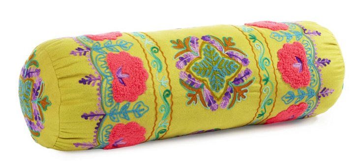 Botanical 20x6 Embroidered Pillow, Moss