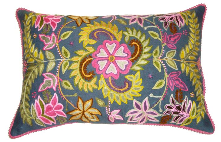 Chic 16x24 Embroidered Pillow, Multi