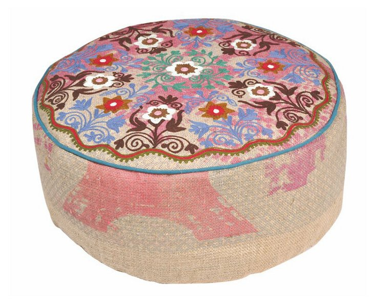 Fanuel Embroidered Pouf