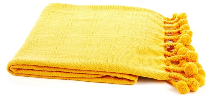 Pom-Pom Cotton Throw, Golden Yellow