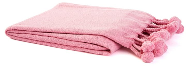 Pom-Pom Cotton Throw, Pink
