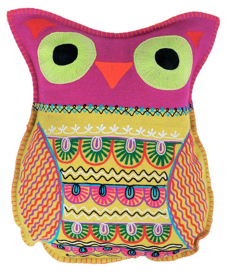 Owl 14x18 Pillow, Mustard/Fuchsia