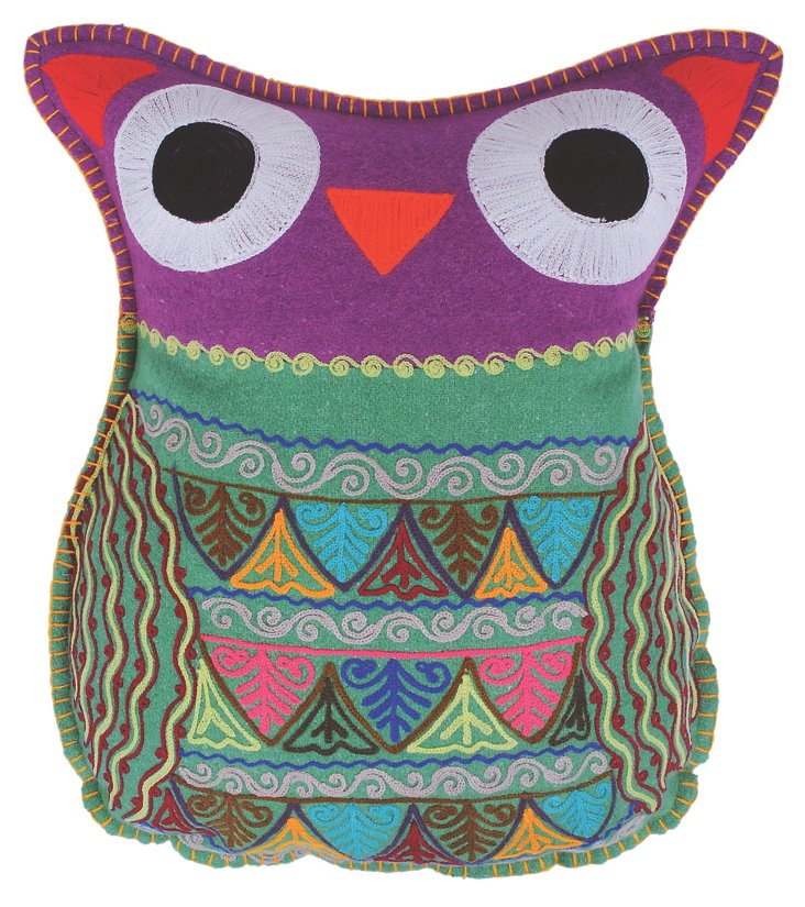 Owl 14x18 Pillow, Green/Purple
