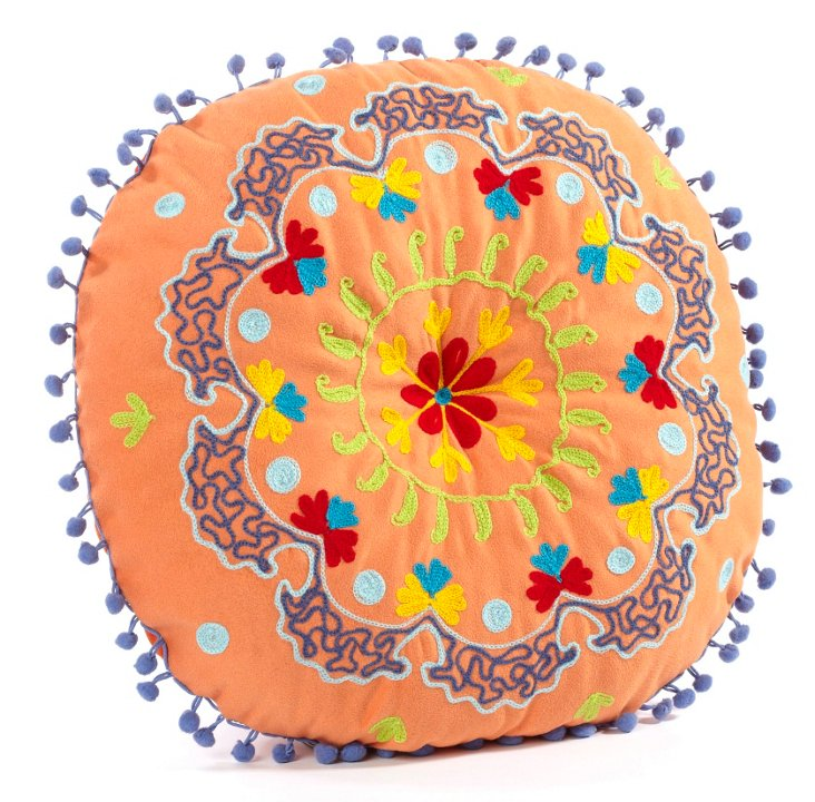 "Botanical 16"" Embroidered Pillow, Orange"