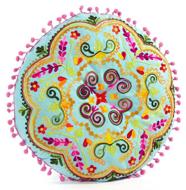 "Botanical 16"" Embroidered Pillow, Aqua"