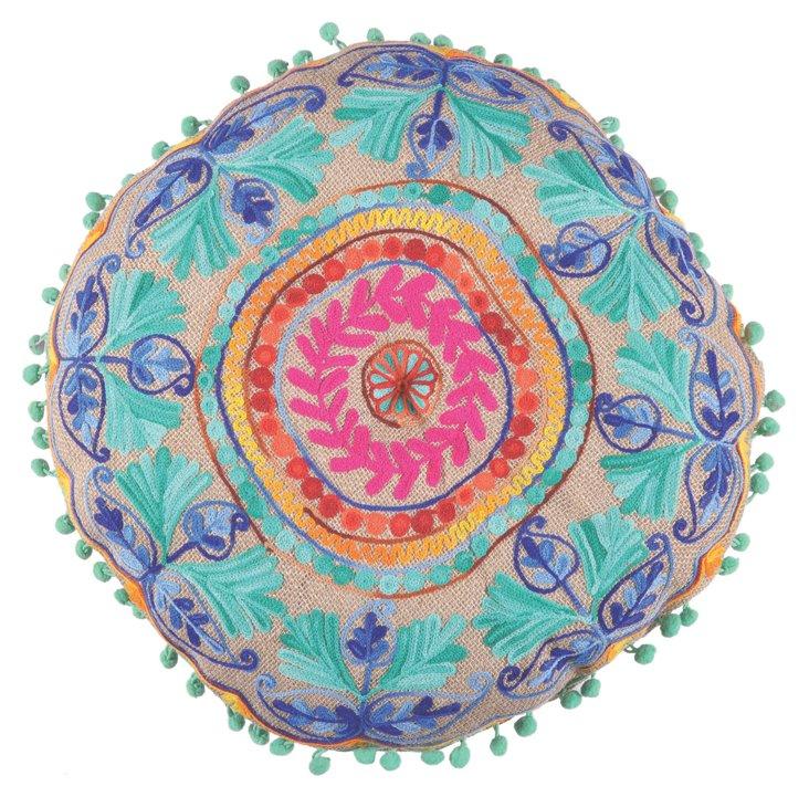 Jute Round Pillow, Turquoise