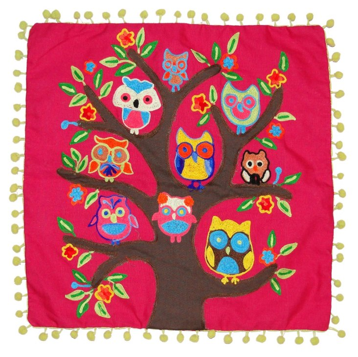Family Owl 16x16 Pillow, Red