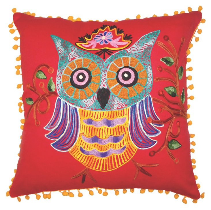 Owl 16x16 Pillow, Red/Multi