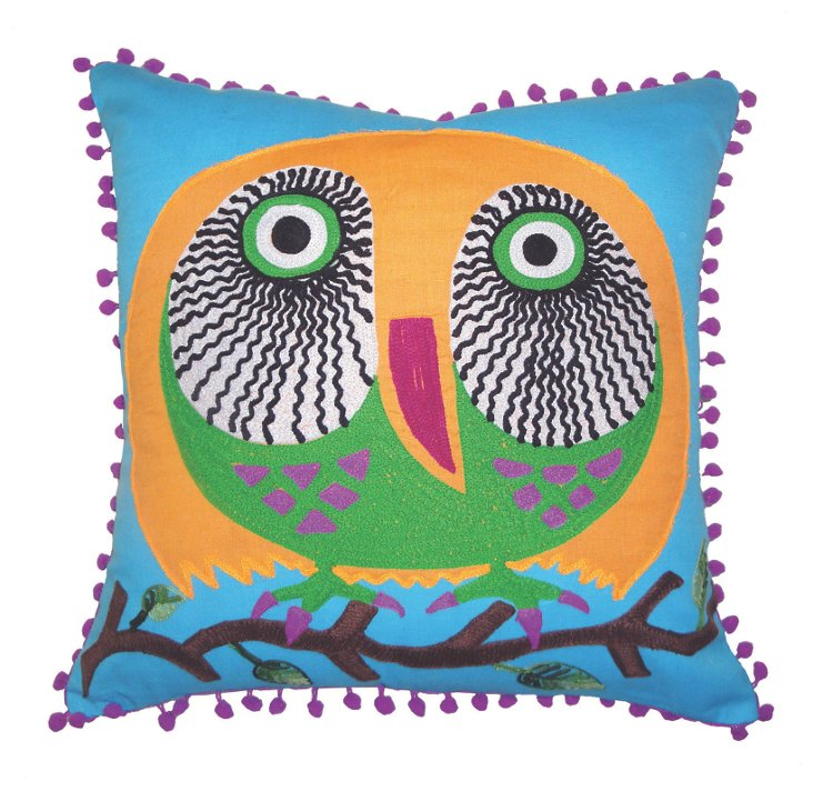 Owl 16x16 Pillow, Blue