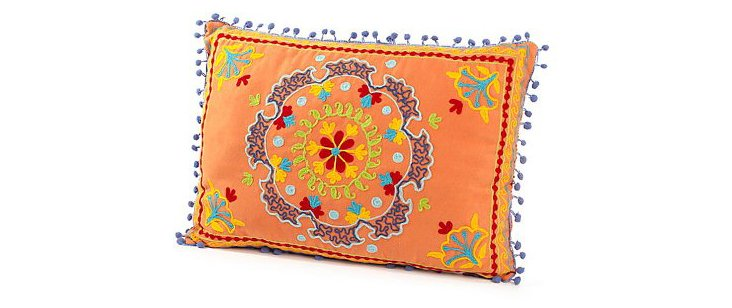 Botanical 14x20 Cotton Pillow, Orange
