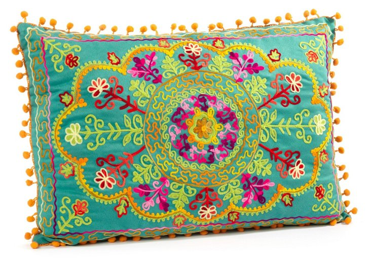 Botany 14x20 Embroidered Pillow, Teal