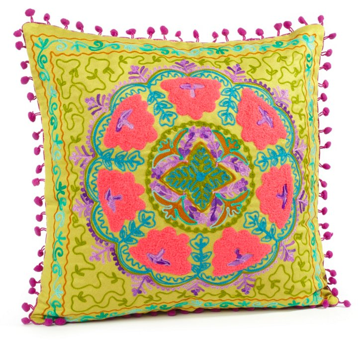 Botany 16x16 Embroidered Pillow, Green