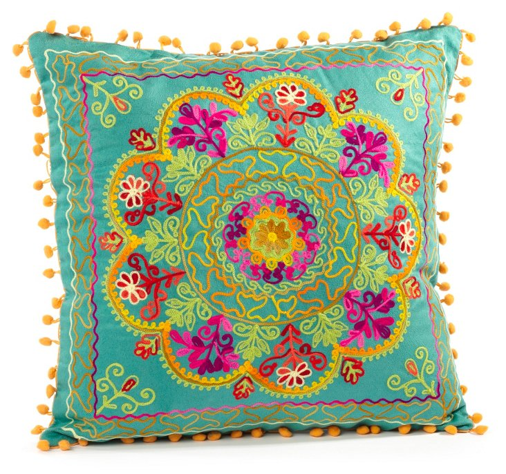 Botanical 16x16 Embroidered Pillow, Teal