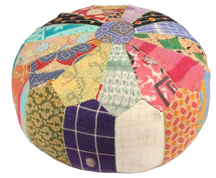 Hand-Stitched Kantha Pouf, Nandika