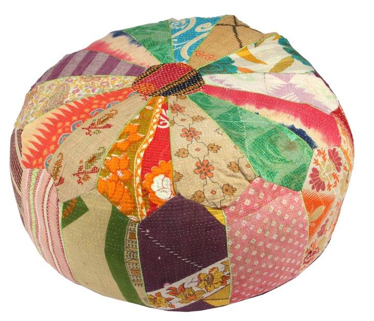 Hand-Stitched Kantha Pouf, Balaghat