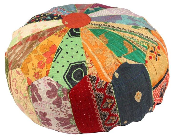 Hand-Stitched Kantha Pouf, Chirala