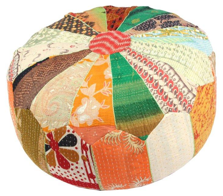 Hand-Stitched Kantha Pouf, Kanda
