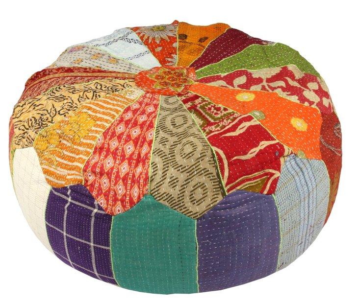Hand-Stitched Kantha Pouf, Aya