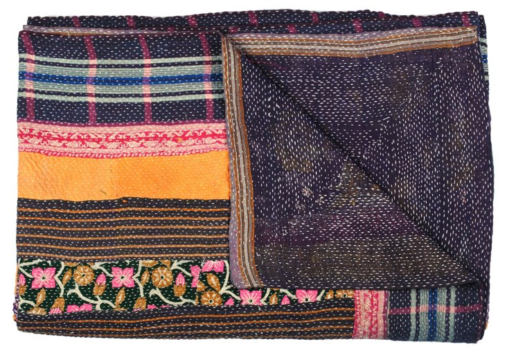 Hand-Stitched Kantha Throw, Yoga