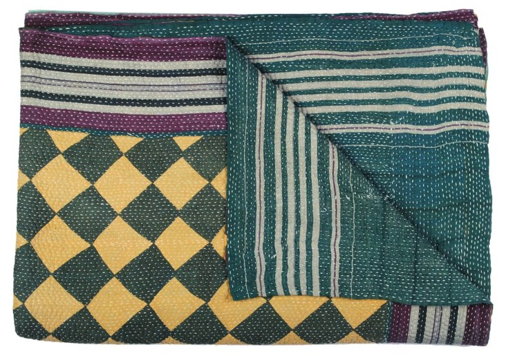 Hand-Stitched Kantha Throw, Mystery