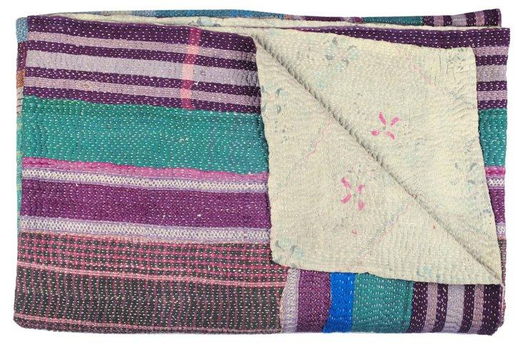 Hand-Stitched Kantha Throw, Violet