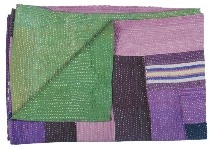 Hand-Stitched Kantha Throw, Madison