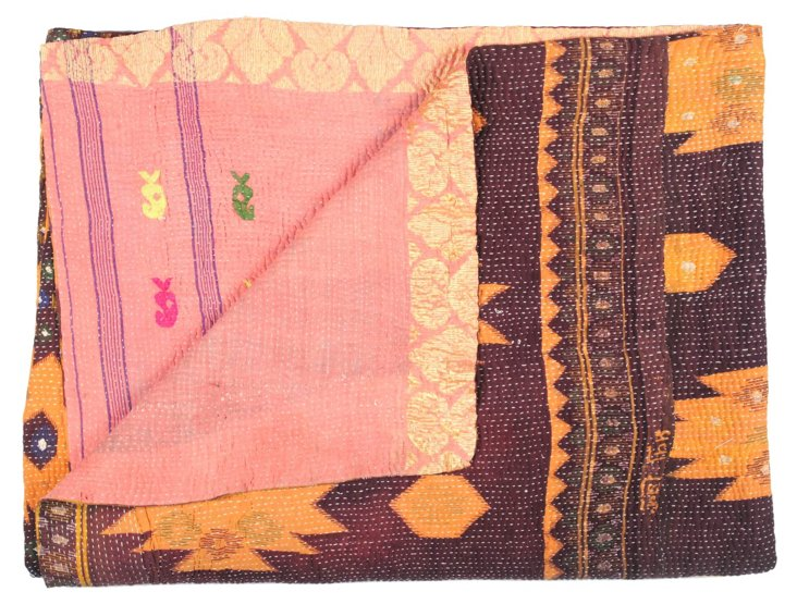 Hand-Stitched Kantha Throw, Emily