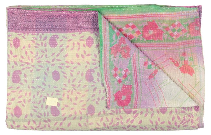 Hand-Stitched Kantha Throw, Tropical