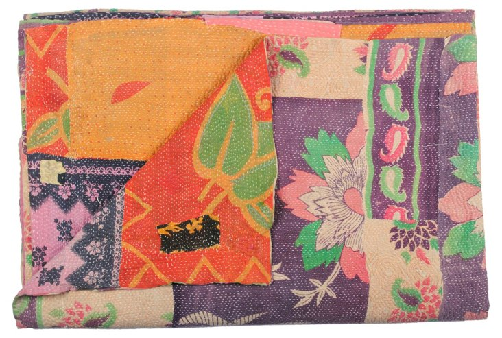 Hand-Stitched Kantha Throw, Junaritami