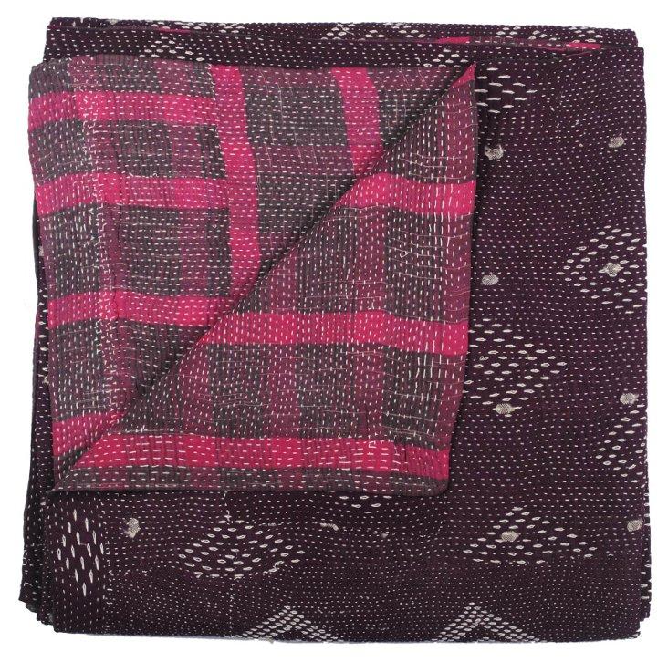 Hand-Stitched Kantha Throw, Gakuru