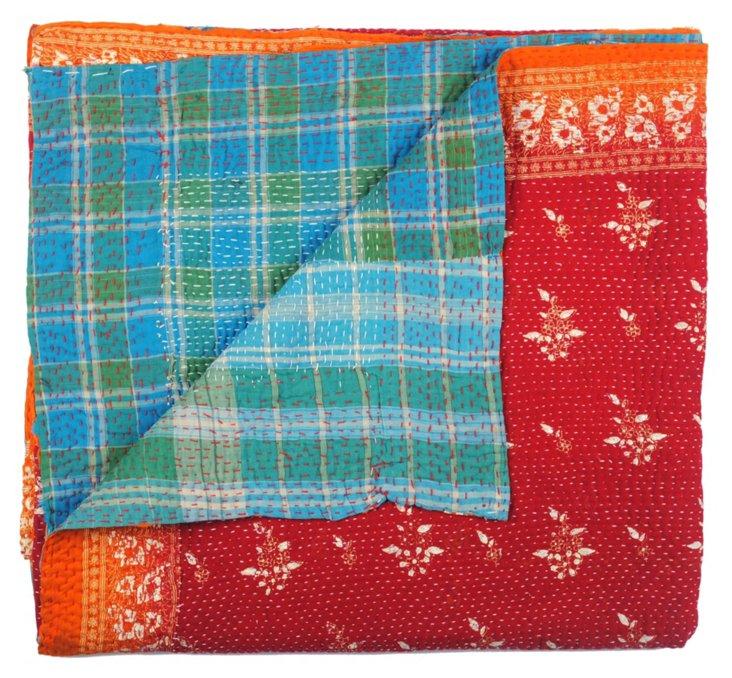 Hand-Stitched Kantha Throw, Taza