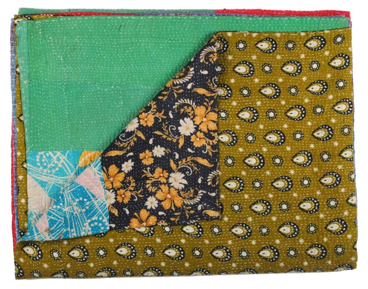 Hand-Stitched Kantha Throw, Tusti
