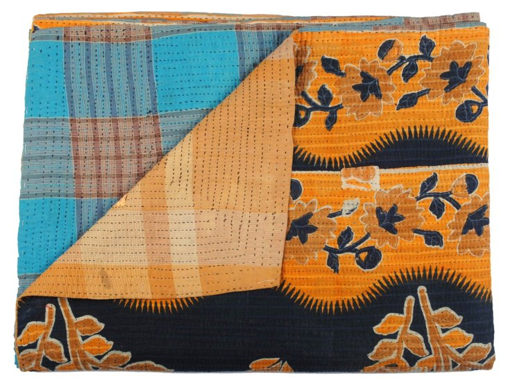 Hand-Stitched Kantha Throw, Red