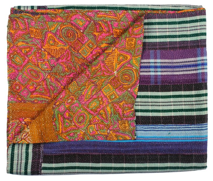 Hand-Stitched Kantha Throw, Tangier
