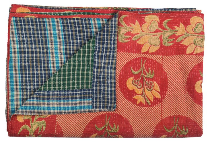 Hand-Stitched Kantha Throw, Vino
