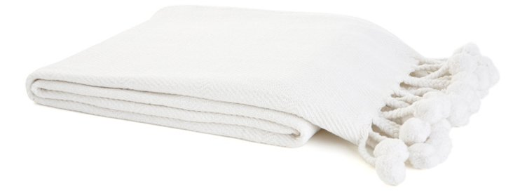 Pom-Pom Cotton Throw, White