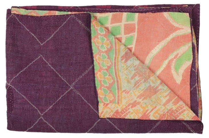 Hand-Stitched Kantha Throw, Lathi