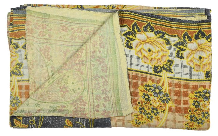 Hand-Stitched Kantha Throw, Tibani